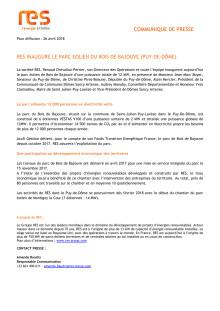 RES inaugure le parc éolien du Bois De Bajouve (Puy-De-Dôme)