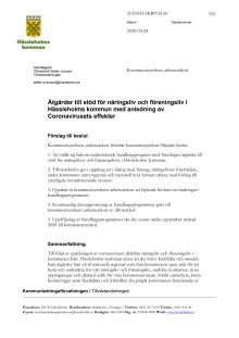 Ärende_Åtgärder till stöd för näringsliv och föreningsliv i Hässleholms kommun med anledning av Coronavirusets effekter