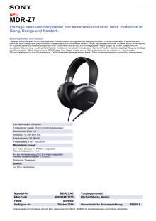 Datenblatt MDR-Z7 von Sony