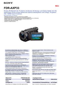 Datenblatt FDR-AXP33