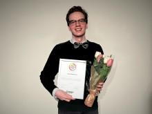 """Einar Gunnarsson (Göteborg) får hedersomnämnandet """"Årets Lärarstudent"""" för sina insatser inom skola"""