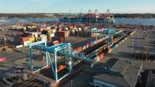 Järnvägsrekord gav ökade containervolymer i Göteborgs hamn