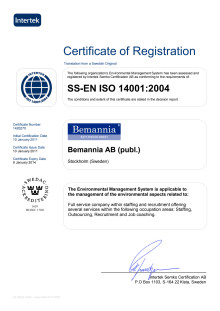 Certificate of Registration ISO 14001:2004 Bemannia AB