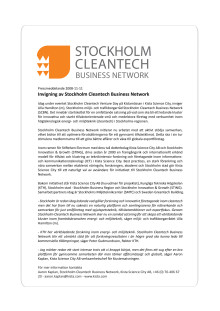 Invigning av Stockholm Cleantech Business Network