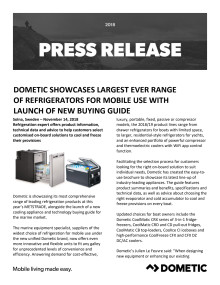 Dometic Showcases Largest Ever Range  of Refrigerators for Mobile Use with  Launch of New Buying Guide