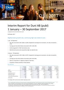 Interim Report for Duni AB (publ) 1 January – 30 September 2017