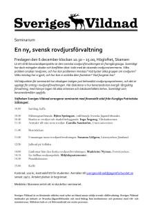 Seminarium; En ny, svensk rovdjursförvaltning