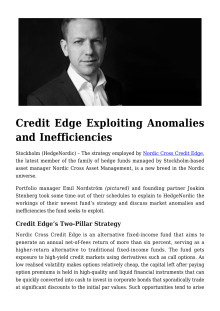 Credit Edge Exploiting Anomalies and Inefficiencies