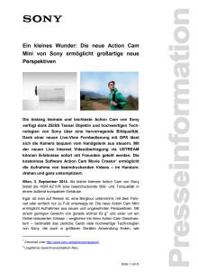 """Pressemitteilung """"Ein kleines Wunder: Die neue Action Cam Mini von Sony ermöglicht großartige neue Perspektiven"""""""