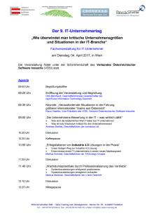 Agenda und Anmeldung zum 9. IT-Unternehnertag am 4.4.2017 in Wien