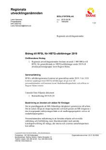 Beslutsförslag RFSL i regionala utvecklingsnämnden 190528