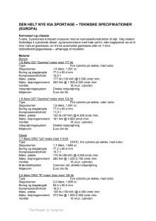 Sportage tekniske specifikationer