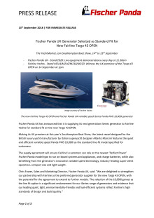 Fischer Panda UK Generator Selected as Standard Fit for New Fairline Targa 43 OPEN