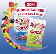 Malaco Gott & Blandat nu i ett alternativ med  30 % mindre socker – med samma goda smak!
