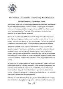 New Premises Announced for Award-Winning Poole Restaurant