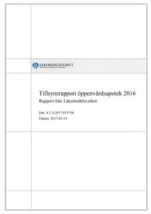 Tillsynsrapport öppenvårdsapotek 2016