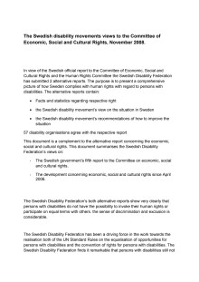 Handikappförbundens alternativrapport på engelska