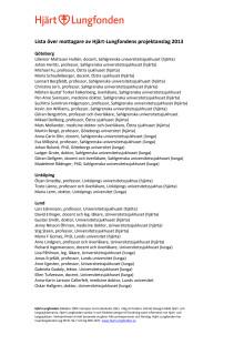 Lista över mottagare av Hjärt-Lungfondens projektanslag 2013