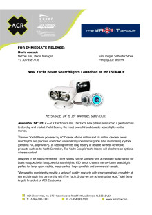 New Yacht Beam Searchlights Launched at METSTRADE