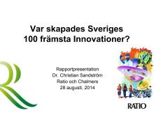 Presentation Sveriges 100 främsta innovationer