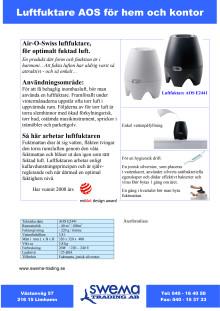 Luftfuktare Air-O-Swiss E2441A produktblad