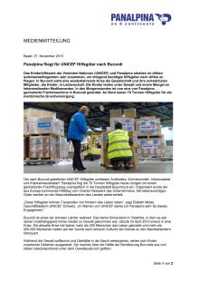 Panalpina fliegt für UNICEF Hilfsgüter nach Burundi