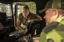 Pressträff med Försvarsministern  och ställföreträdande insatschef med anledning av brandbekämpningen i Ljusdal