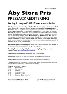 Pressackreditering Åby Stora Pris 2018