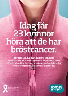 Apoteksgruppen samarbetar med BRO (Bröstcancerföreningarnas Riksorganisation) under rosa oktober