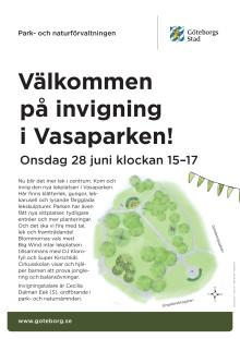 Inbjudan/affisch för invigning av Vasaparkens lekplats 26 juni