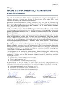Avsiktsförklaring - white paper - för ekonomiskt starkt, attraktivt och hållbart Sverige