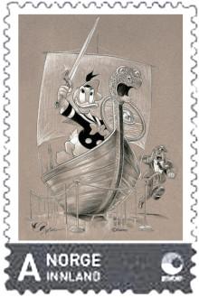 Donald Duck pryder lokalt Mosse-frimerke