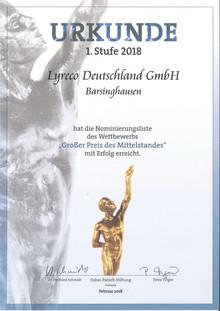 """Lyreco ist zum """"Großen Preis des Mittelstandes"""" nominiert"""