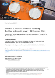 Invitation to telephone conference concerning Duni Year-end report 1 January – 31 December 2018