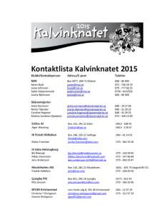Kontaktpersoner Kalvinknatet 2015
