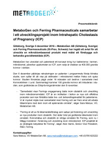 MetaboGen AB och Ferring Pharmaceuticals samarbetar i ett utvecklingsprojekt inom Intrahepatic Cholestasis of Pregnancy (ICP)