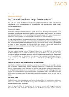 ZACO wirbelt Staub am Saugrobotermarkt auf.