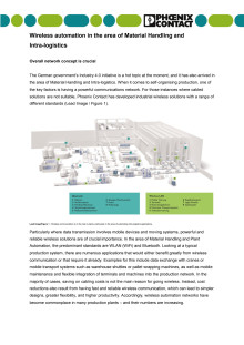 Wireless automation in the area of Material Handling and intra-logistics