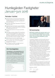 Humlegården Fastigheter halvårsöversikt 2016