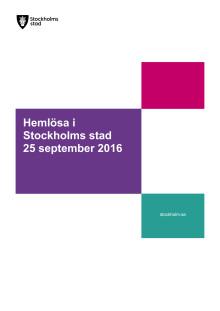 Rapport Hemlösa i Stockholms stad 25 september 2016