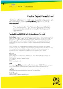 Creative England comes to Lund - programme