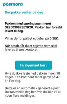 PostNords kunder mottar falske e-poster