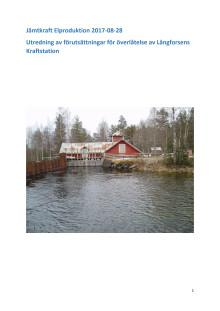 Utredning överlåtelse av Långforsens vattenkraftstation