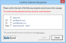 Check recipients before sending emails in Outlook
