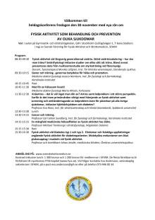 Heldagskonferens om fysisk aktivitet som behandling och prevention av olika sjukdomar