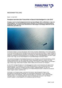 Panalpina berichtet über Fortschritte im Bereich Nachhaltigkeit im Jahr 2015