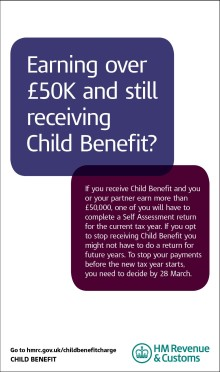 Child Benefit reminder for higher income earners