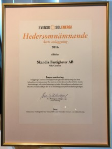 Hedersomnämnande till Väla när Solenergipriset delades ut