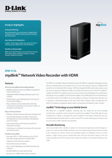 Produktblad, mydlink Network Video Recorder with HDMI DNR-312L