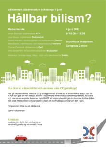 Välkommen på seminarium om hållbar bilism 4 juni